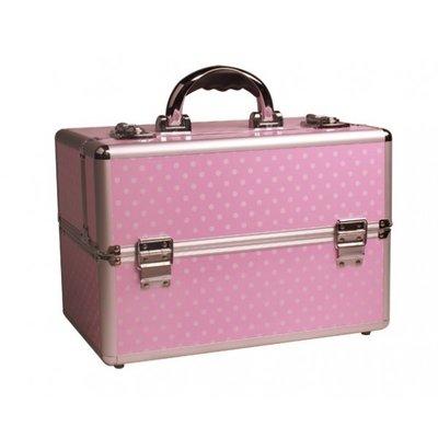 Exclusive Roze koffer met witte Dots