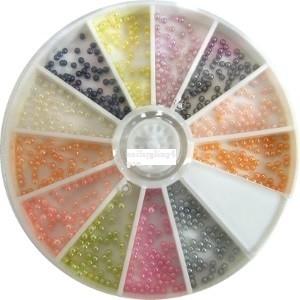12 vaks Nail art carrousel met gekleurde parels mini