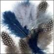 Blauw/grijs nail art veertjes 18 stuks